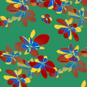 Colored flowers on dark green background - Fleurs colorées sur fond vert foncé