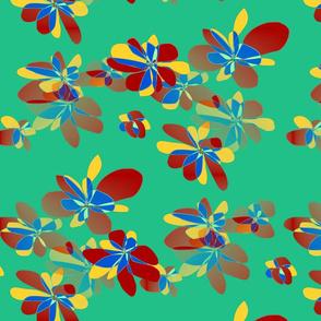 Colored flowers on green background - Fleurs colorées sur fond vert