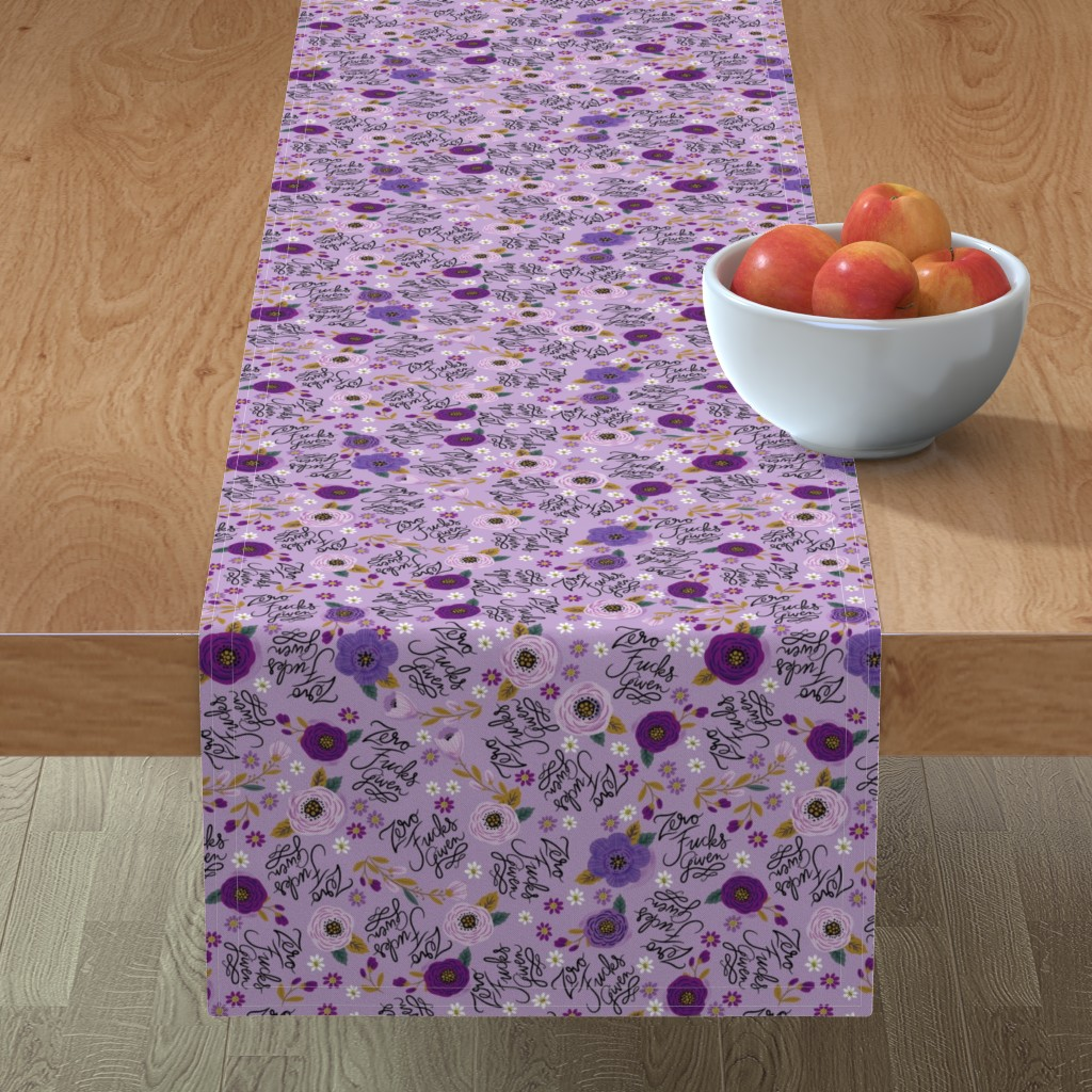 Minorca Table Runner featuring Swear Small: Zero Fs Given Purple by cynthiafrenette
