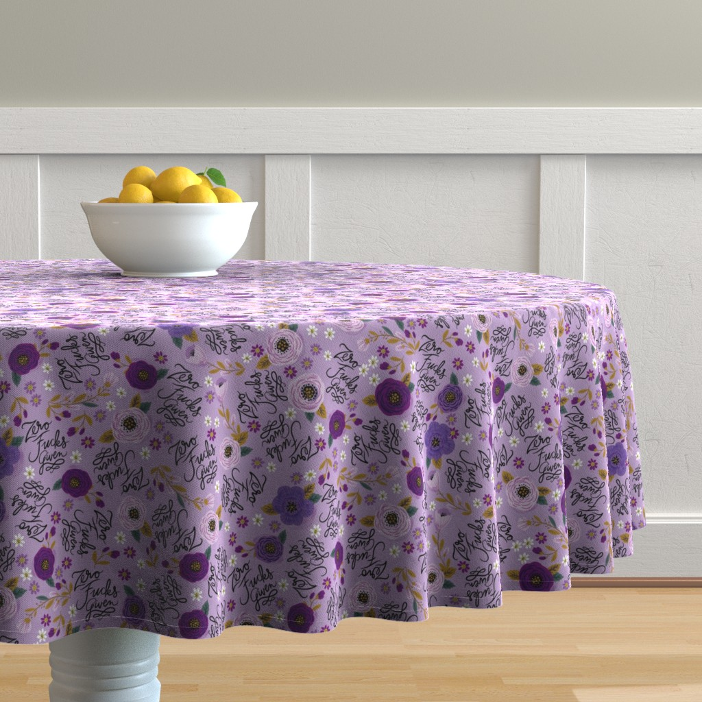 Malay Round Tablecloth featuring Swear Small: Zero Fs Given Purple by cynthiafrenette
