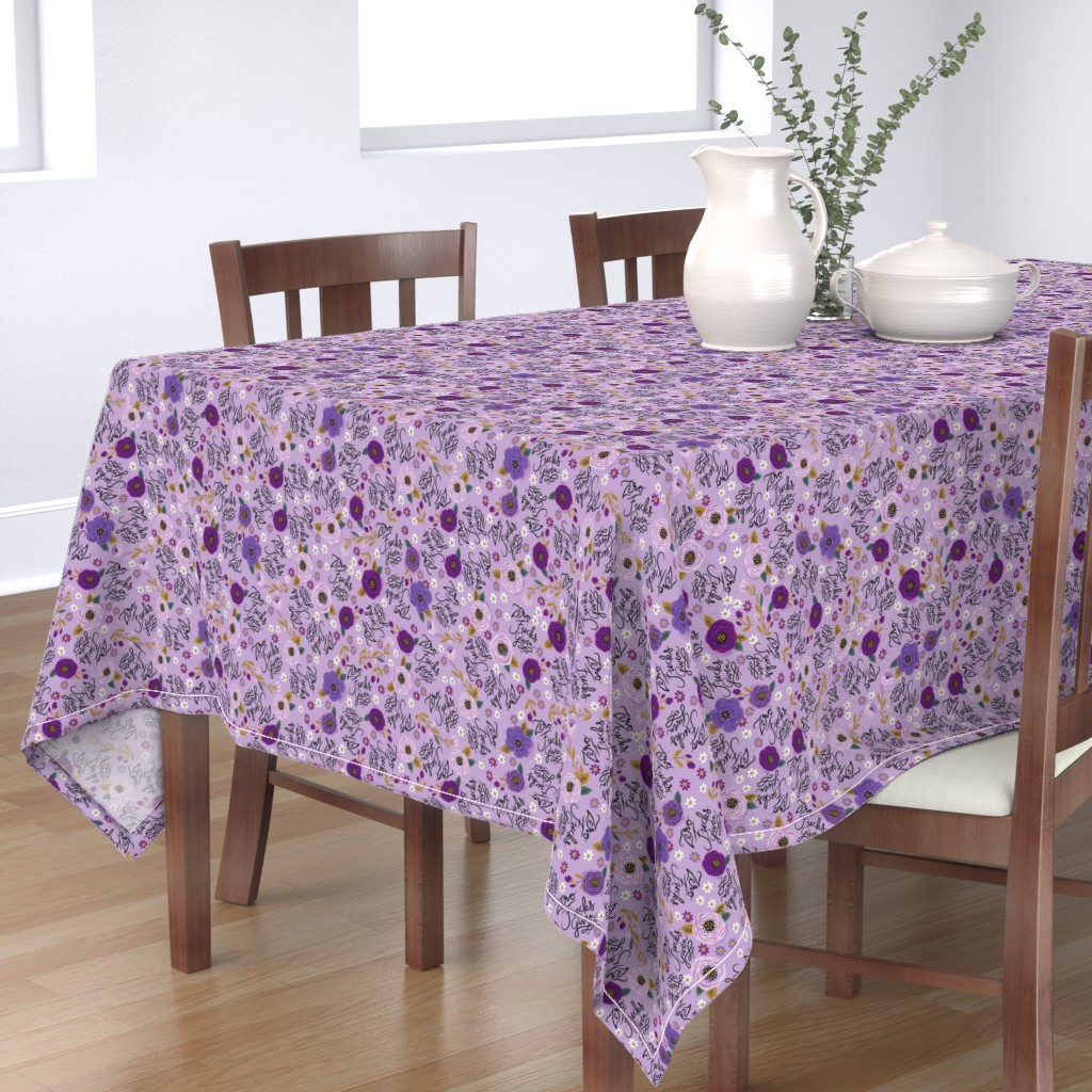 Bantam Rectangular Tablecloth featuring Swear Small: Zero Fs Given Purple by cynthiafrenette