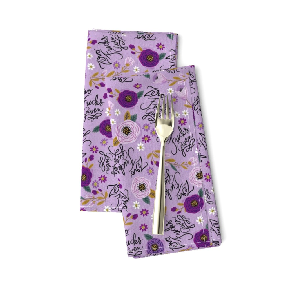 Amarela Dinner Napkins featuring Swear Small: Zero Fs Given Purple by cynthiafrenette
