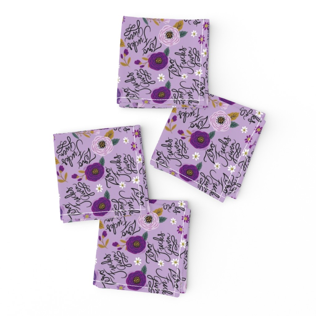 Frizzle Cocktail Napkins featuring Swear Small: Zero Fs Given Purple by cynthiafrenette
