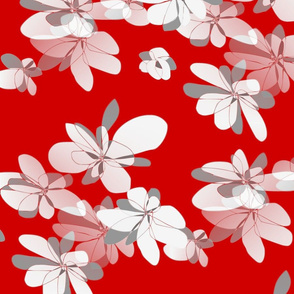 Flowers on red background - Fleurs sur fond rouge