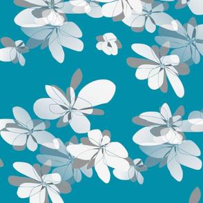 Flowers on blue background - Fleurs sur fond bleu