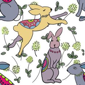 Rabbits in clover