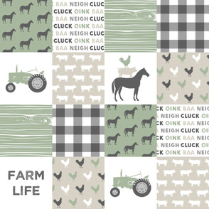 Farm Life Wholecloth - Farm themed patchwork fabric - horses, pigs, roosters - sage and tan C20BS
