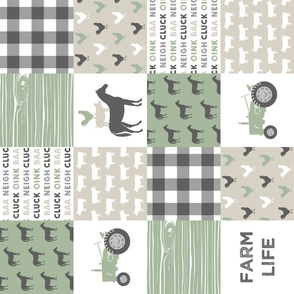 Farm Life Wholecloth - Farm themed patchwork fabric - horses, pigs, roosters - sage and tan (90) C20BS