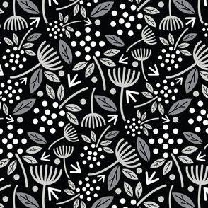 Dandelion Florals Black and White