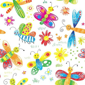 cute butterfly flowers kids hand drawn doodle girls