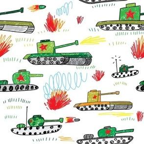 cool tanks war boys hand drawn doodle pattern