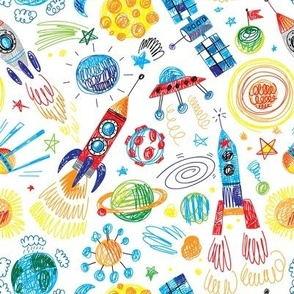 space rocket hand drawn planets stars sputnik pattern