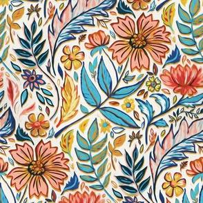 Vivid Colorful Art Nouveau Floral small