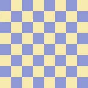 JP20 - Large - Checkerboard of One Inch Squares in Lemon Yellow Pastel and Violet