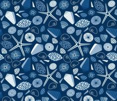 classic blue seashells