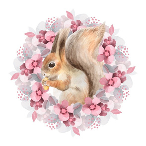 Squirrel and flowers