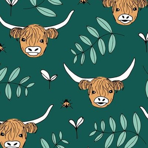 Adorable highland cattle sweet spring cows with horns Scandinavian kids design green gender neutral