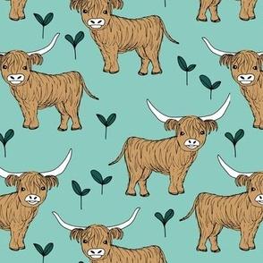 Adorable highland cattle fields sweet spring cows with horns Scandinavian kids design mint green gender neutral