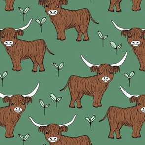 Adorable highland cattle fields sweet spring cows with horns Scandinavian kids design forest green winter