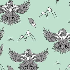 Fly like an eagle national parks and wild life birds and spring mountain peaks mint gray