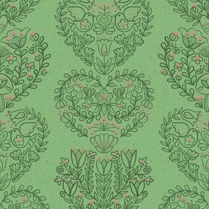 Folk Flora Hearts in Green // spring floral folk art hearts green pink fabric