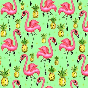 Small-Flamingos and Pineapples