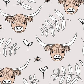 Adorable highland cattle sweet spring cows with horns Scandinavian kids design leaves baby soft gray beige gender neutral