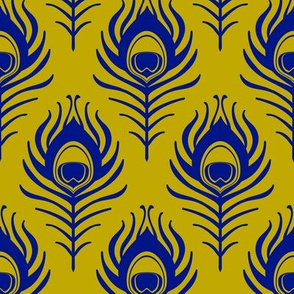 Peacock feather - mustard and blue