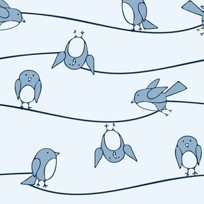 Seamless vector pattern with bluebirds on line. Cute funny hand drawn birds wallpaper design for children. Simple fashion textile print.