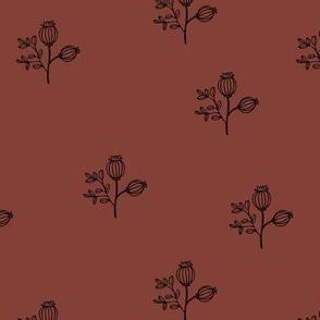 Sweet poppy flowers botanical floral spring summer print spring soft stone red nursery