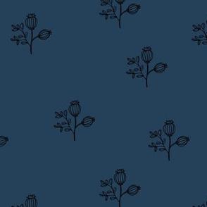 Sweet delicate poppy flowers botanical floral spring summer print spring soft navy blue boys nursery