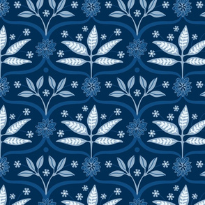 Mahal Floral Ogee in Classic Blue from UnBlink Studio by Jackie Tahara
