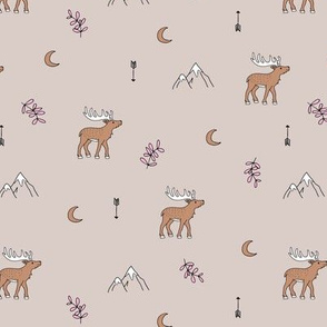 Little dreamy deer mountains sweet canada mountains design moon and arrows pastel beige pink