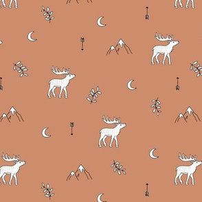 Little dreamy deer mountains sweet canada mountains design moon and arrows neutral rust brown