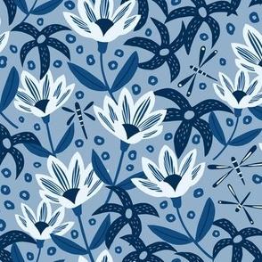Dragonfly Garden in Blue