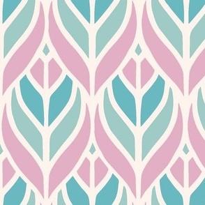 Art deco leaves pastel pink