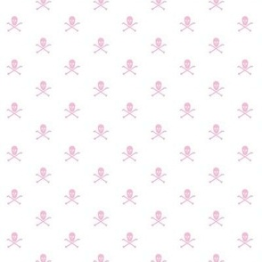 pink skull and crossbones on white
