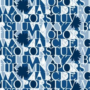 Alphabet in classic blue