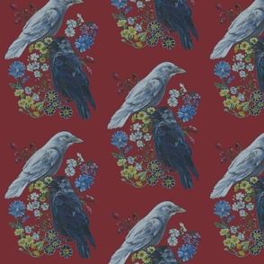 Two Jackdaw Floral [red]
