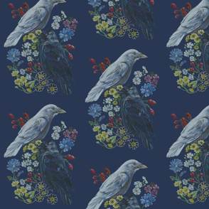 Two Jackdaw Floral [blue]