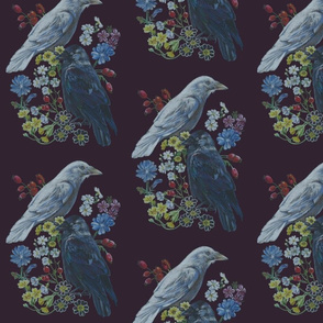 Two Jackdaw Floral [purple]