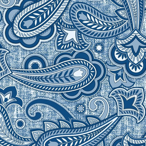 Paisley blue large scale