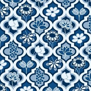Classic Blue Quatrefoil Floral