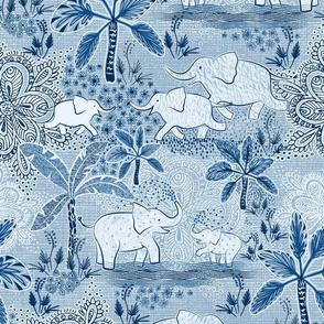 Happy Elephants in Blue Light - large scale