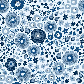 Floral Dance in Classic Blue
