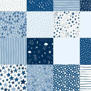 classic blue stars  - medium scale wholecloth quilt