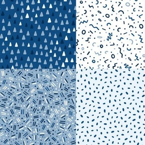 classic blue abstract, dots  - medium scale wholecloth quilt