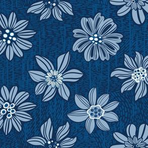 Blue Floral pattern, monochrome flowers