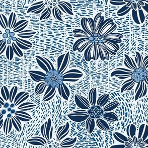 Dark Blue Flowers pattern, linocut style