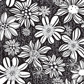 Linocut style Monochrome flowers meadow